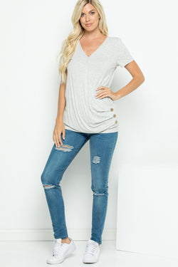 Shirts, Solid Short Sleeve V-Neck Wrap Top