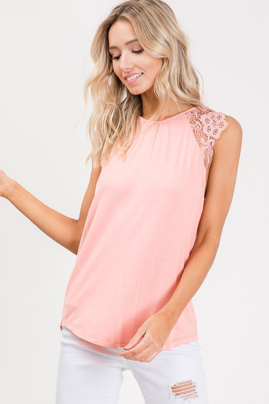 Top, Lace Sleeveless Top