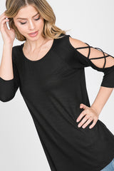 Top, 3/4 Criss Cross Sleeve