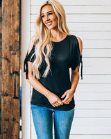 Tops, Cold Shoulder Tie Detail Top