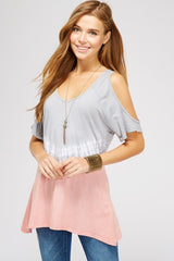 Shirts, Tie Dye Short Sleeve Cold Shoulder