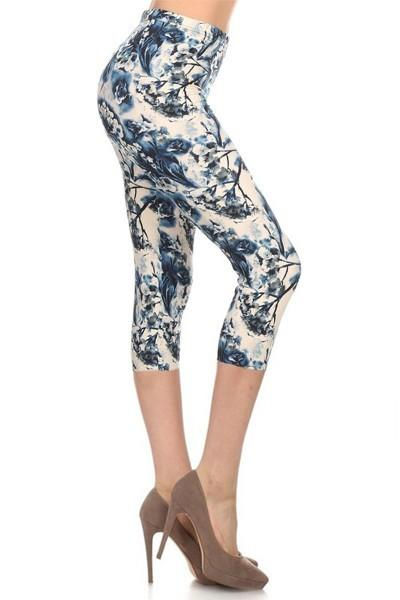 Leggings, Blue and Ivory Floral