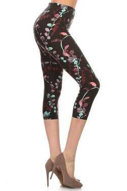 Leggings, Black Painted Floral