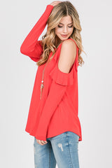 Tops, Long Sleeve Ruffle Cold Shoulder Top