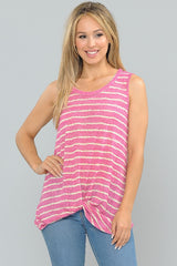 Tops, Knotted Hem Sleeveless Tunic