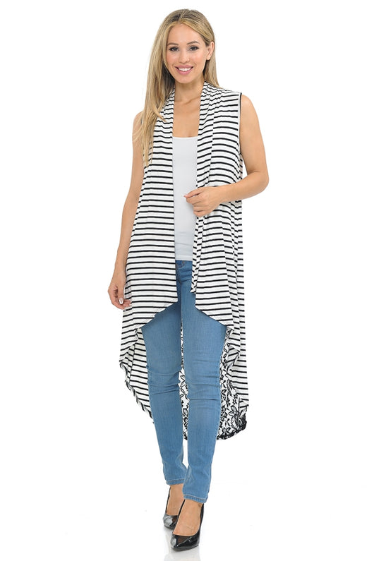 Tops, Sleeveless Stripe Vest w/Lace Detail