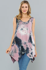Tops, Sleeveless Tie Dyed Tunic