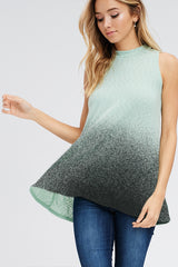 Tops, Faded Ombre Mock Neck Muscle Top