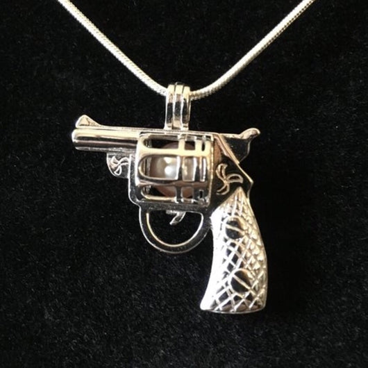Gun Single-Pearl Cage Pendant (Sterling silver)
