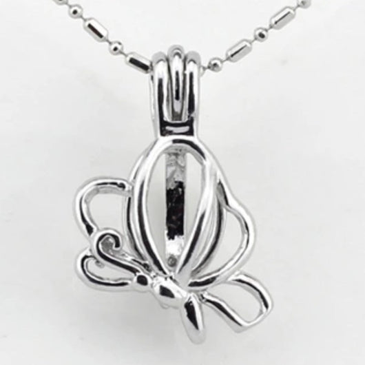 Butterfly Single-Pearl Cage Pendant