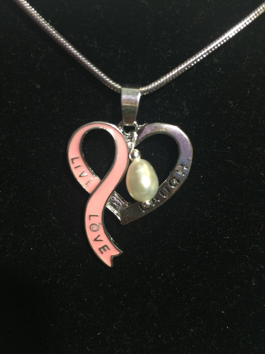 Pink ribbon live love laugh pendant pearls helping pets pink ribbon live love laugh pendant aloadofball Gallery