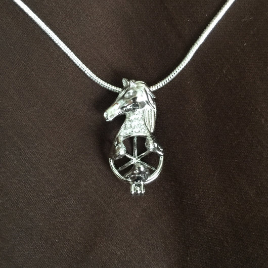 Horse Head Single-Pearl Cage Pendant (Sterling Silver)