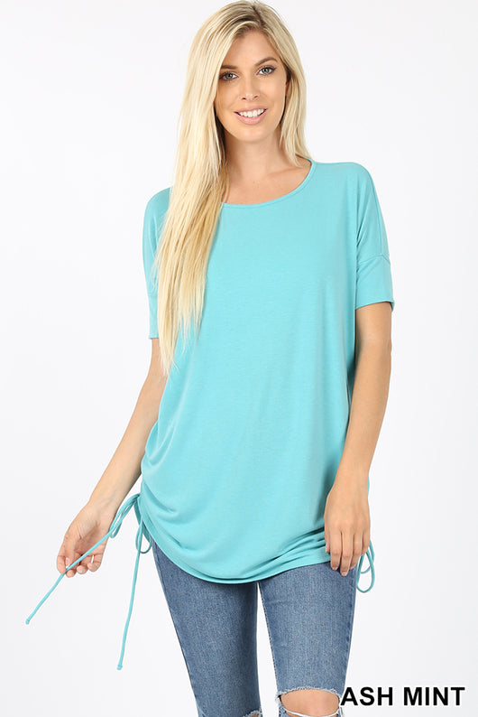 Top, Short Sleeve Round Neck Side Cinched Top