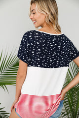 Tops, 4th of July American Flag Color Block Top