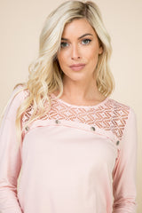Tops, Long Sleeve w/Crochet and Button Detail