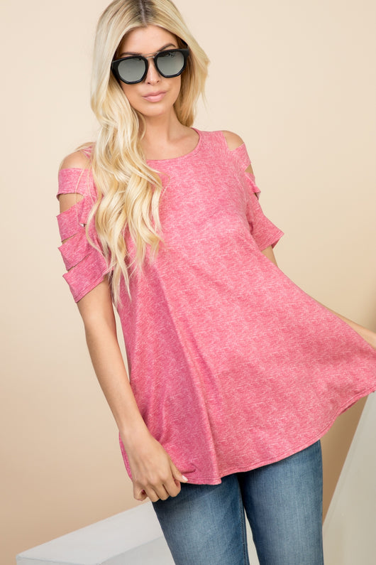 Tops, Cutout Short Sleeve Tunic Top w/Pocket