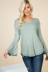Tops, Solid Bell Long Sleeve Top
