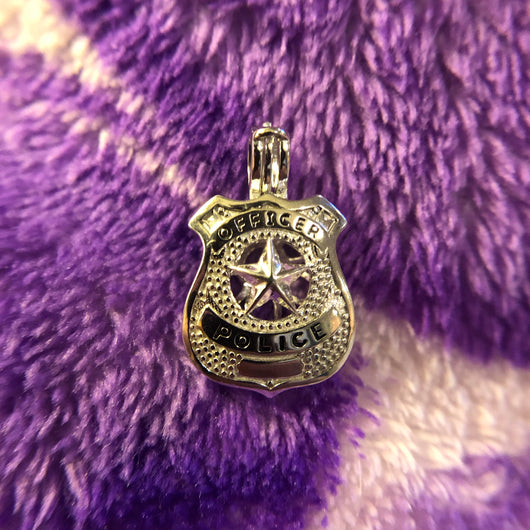Police Officer Badge Single-Pearl Cage Pendant (Sterling Silver)