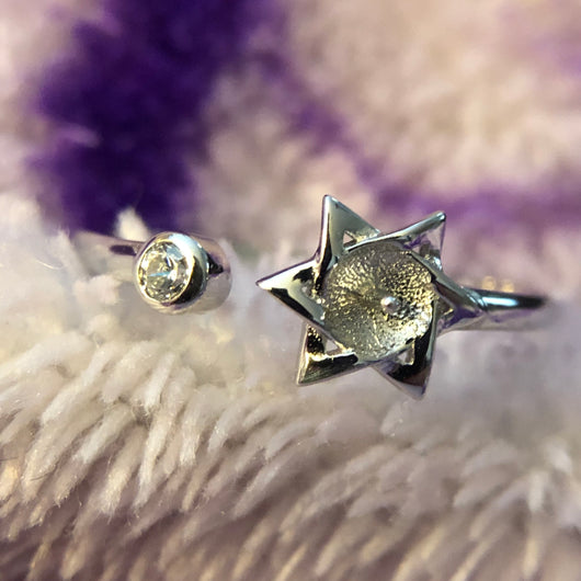 Star Single-Pearl Ring Mounting (Sterling silver)