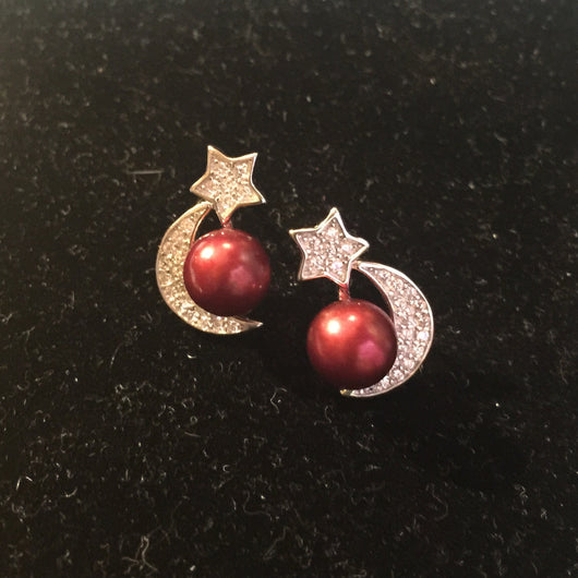 Moon and Star Earring Mounting (Sterling silver)