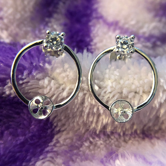 Gem Circle Earring Mounting (Sterling silver)