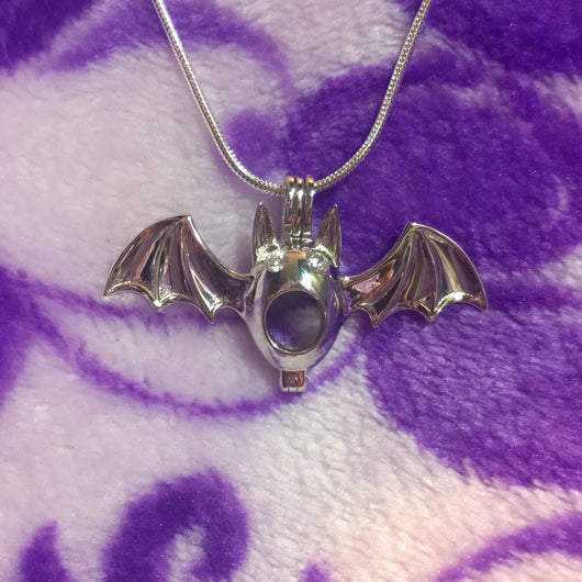 Bat Single-Pearl Cage Pendant (Sterling Silver)