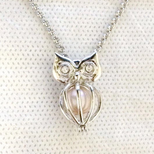 Owl Single-Pearl Cage Pendant
