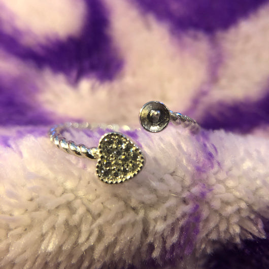 Heart Rope Angled Ring Mounting (Sterling silver)