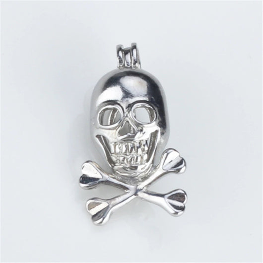 Skull Single-Pearl Cage Pendant