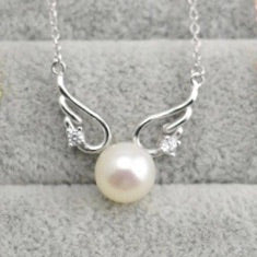 Angel Wings Single-Pearl Pendant Mounting (Sterling silver)