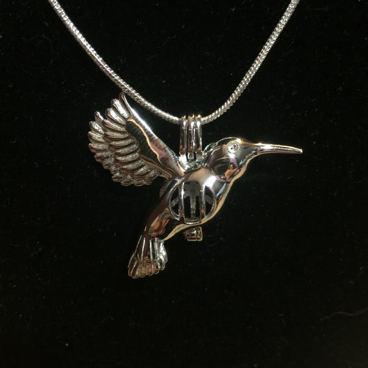 Hummingbird Flutter Wings Single Pearl Cage Pendant (Sterling Silver)