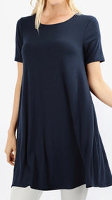 Tops, Straight Hem Round Neck Tunic w/Pockets