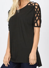 Tops, Criss Cross Shoulder Side Split Hi Low