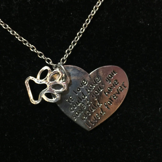 Love Saves Heart Paw Pendant