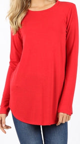 Tops, Long Sleeve Round Neck Round Hem Top