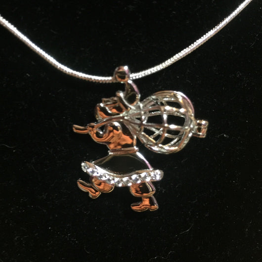 Santa Claus Single Pearl Cage Pendant (Sterling Silver)