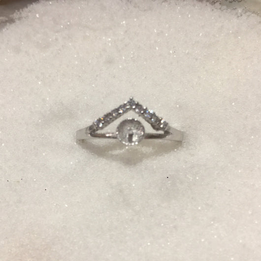 Triangle Single-Pearl Ring Mounting (Sterling silver)
