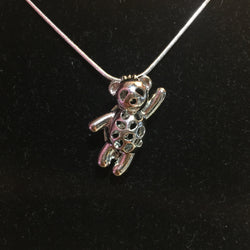 Waving Bear Single-Pearl Cage Pendant (Silver Plated)