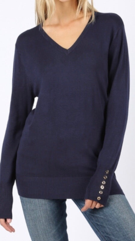 Tops, Long Sleeve V-Neck Sweater w/Golden Button Detail