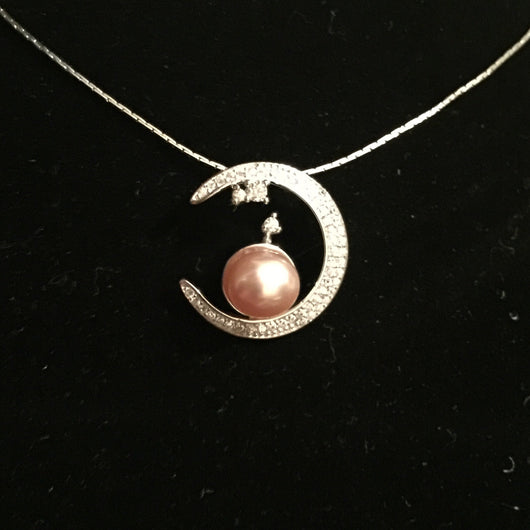 Moon single pearl pendant mounting sterling silver pearls moon single pearl pendant mounting sterling silver aloadofball Image collections