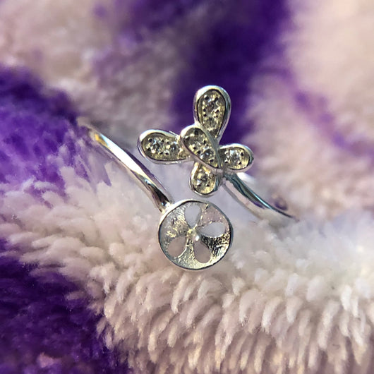 Bubble Butterfly Ring Mounting (Sterling silver)