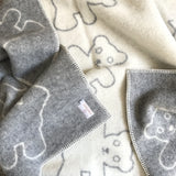 Reversible grey teddy bear blanket | Teeny Tiny Linen