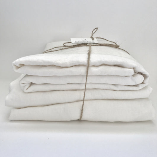 White pure linen sheet set | Teeny Tiny Linen