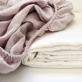 Pink and white pure linen sheet set | Teeny Tiny Linen