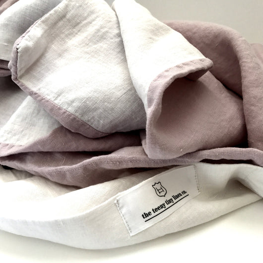 Pure linen Pink and white doona cover | Teeny Tiny Linen