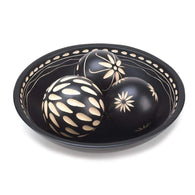 Beautiful Black Decorative Wood Balls With Detailed Tray-Vases and Accents-Across The Counter