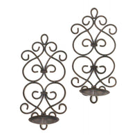 Black Iron Scrollwork Candle Wall Sconces-More Candleholders-Across The Counter