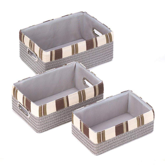 Stacking Grey Striped Basket Set-Baskets-Across The Counter