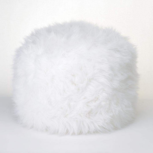 Fuzzy White Ottoman Footstool-Furniture-Across The Counter