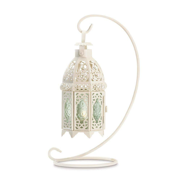 White Fancy Lantern W/stand-Candle Lanterns-Across The Counter